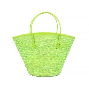 Bag Carrycot natural fiber (50x26 x30 cm ) green
