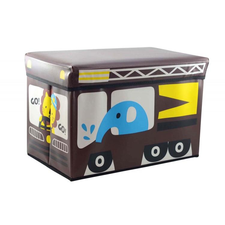 puff-arcón infantil plegable marrón, modelo elefante (48x31x31)