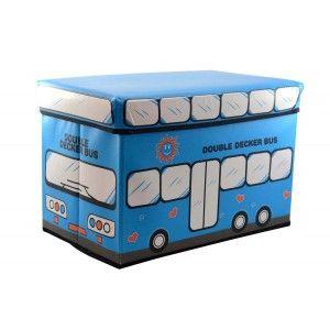 Puff-arcón infantil plegable, autobus azul (48x31x31)