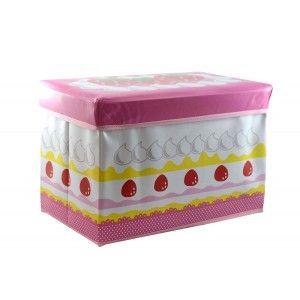 Puff-arcón infantil plegable, tarta de fresa (48x31x31)