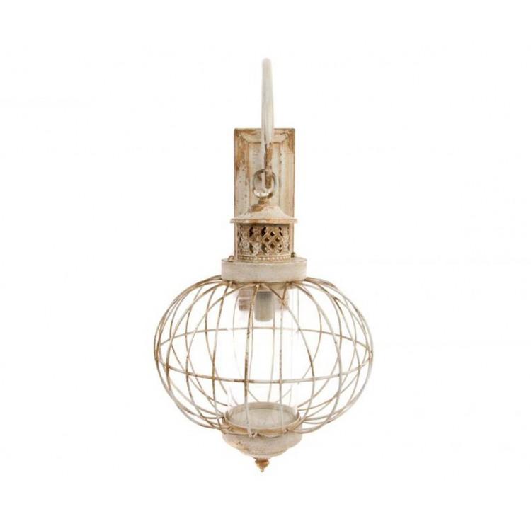 Lámpara (50x36x73 cm) con aplique de metal y cristal