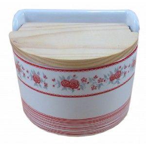 Salt shaker, ceramic and wooden cap semicircular, model flowers