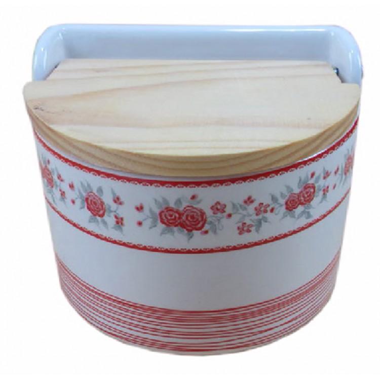 Salero de cerámica y tapa de madera semicircular, modelo flores