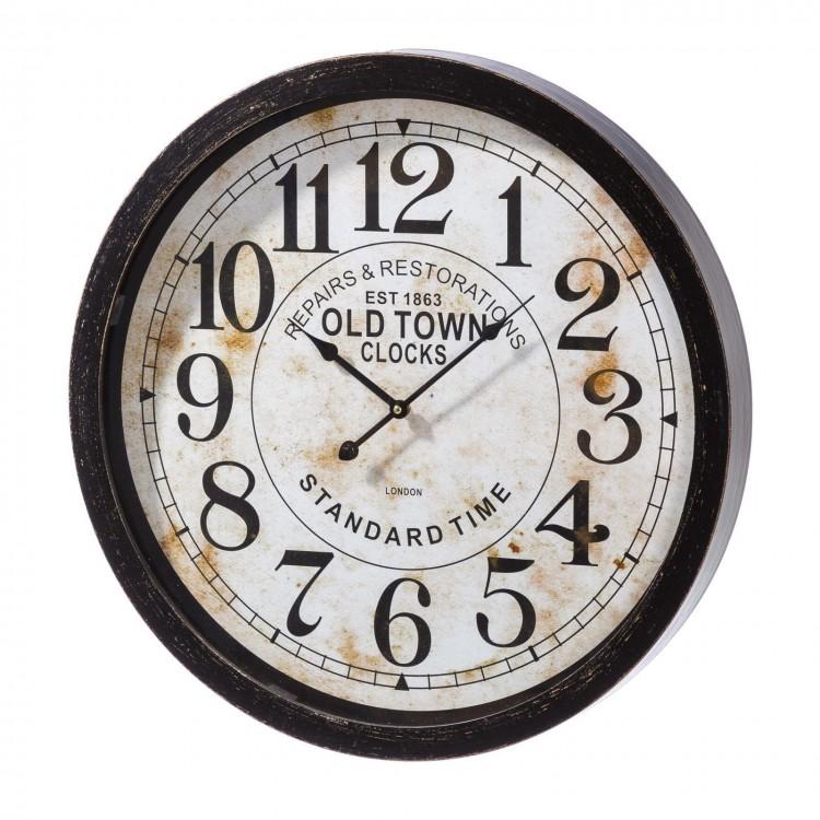 Reloj de pared redondo de mdf envejecido, blanco y negro