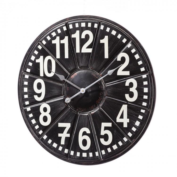 Reloj de pared de metal en blanco y negro
