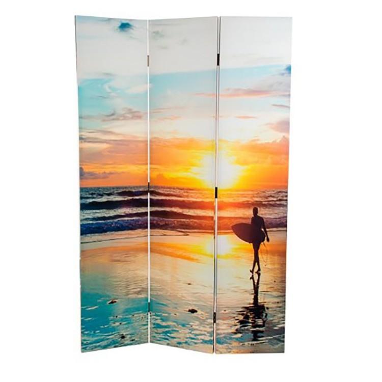Biombo Tropic Beach fotoimpresión sobre lienzo reforzado , montado sobre bastidores de madera