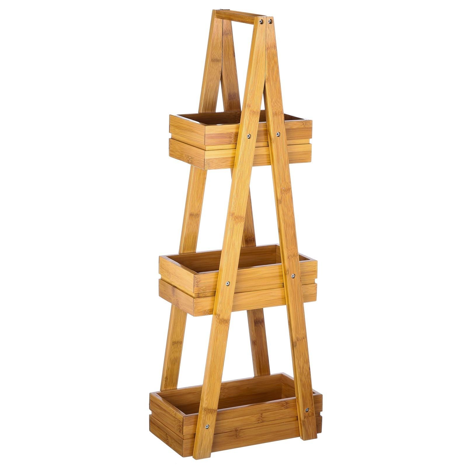 Estantería de bambú tres cajones, en forma de piramide