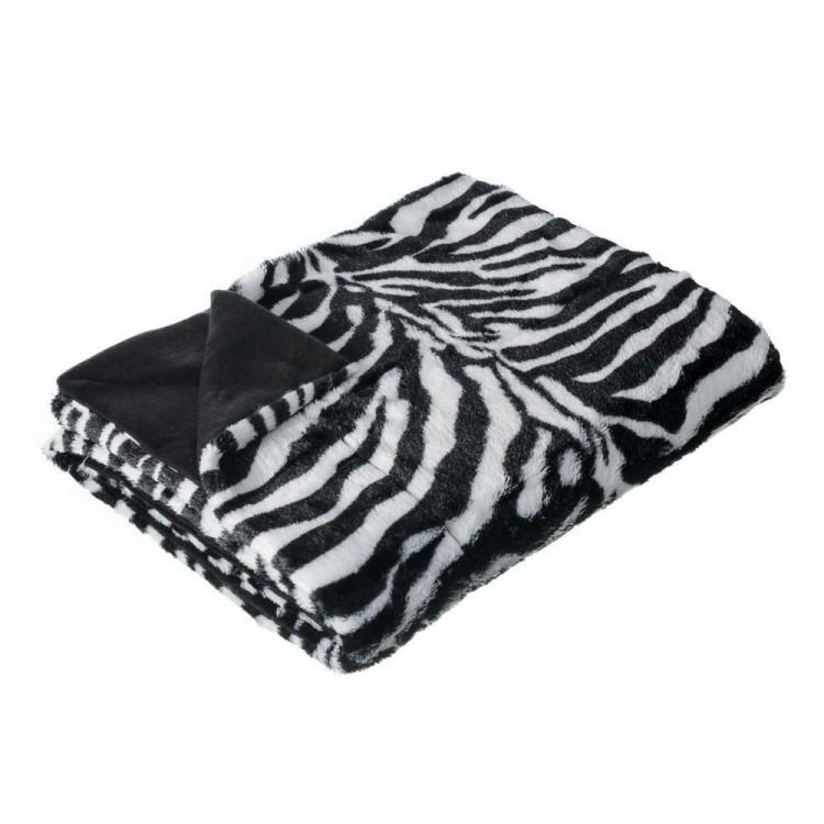 Manta de sofá de pelo y polar, modelo cebra
