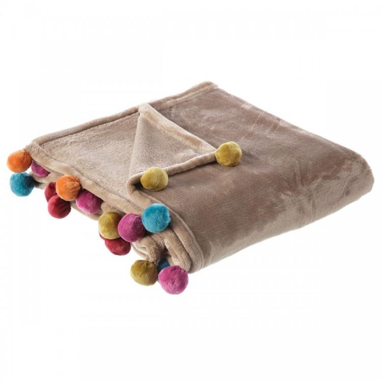 Manta de sofá beige, tacto melocotón, con pompones de colores, Hogar y Mas