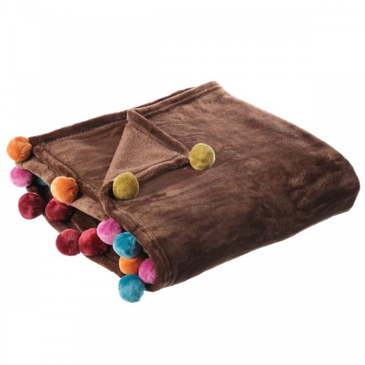 Manta de sofá marrón, tacto melocotón, con pompones de colores