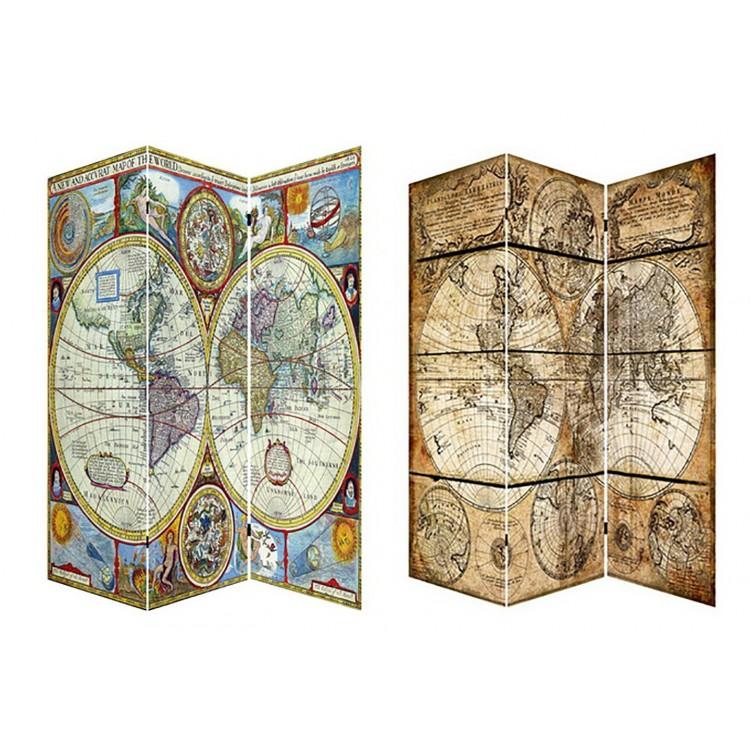 Biombo Mod. Mapa Mundi. Fotoimpresión sobre lienzo reforzado, montado sobre bastidores de madera.