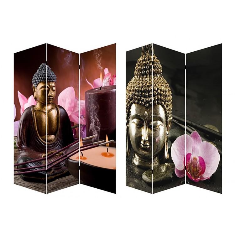 Biombo Mod Buda Zen Wabi-Sabi fotoimpresión sobre lienzo reforzado montado sobre bastidores de madera