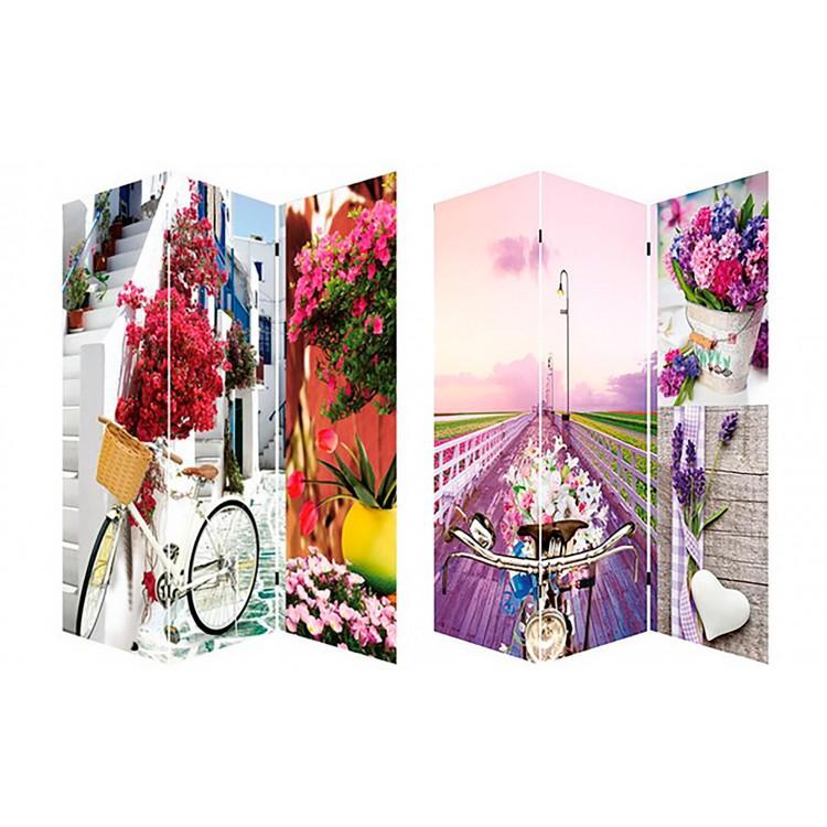 Biombo Bicycle and Flowers, fotoimpresión para decoración Provenzal, sobre lienzo reforzado, montado sobre bastidores de madera,