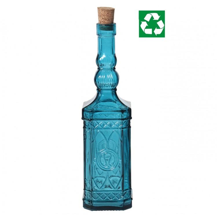 Botella de Vidrio Reciclado. Turquesa, Hogar y Mas