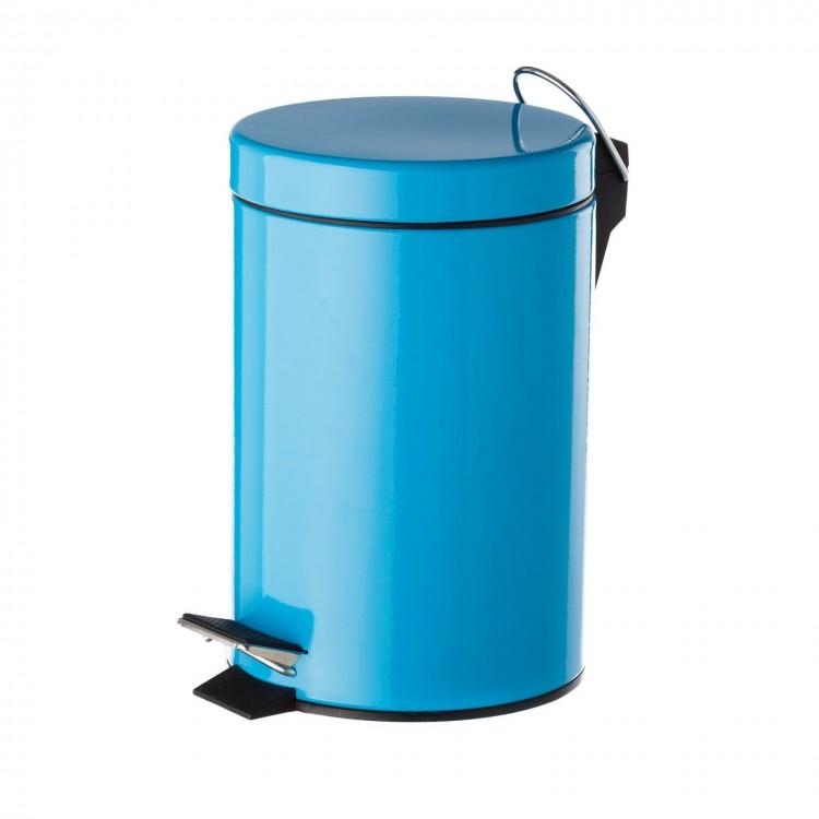 Papelera de metal lacada en azul, con tapa y pedal