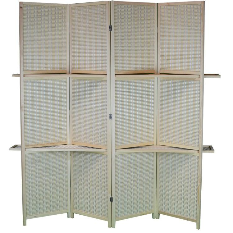 Biombo practico con  estanterías de madera  y Bambú Natural de cuatro paneles