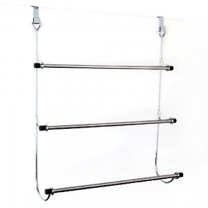 Towel rack for door, iron-chrome, 3-bar