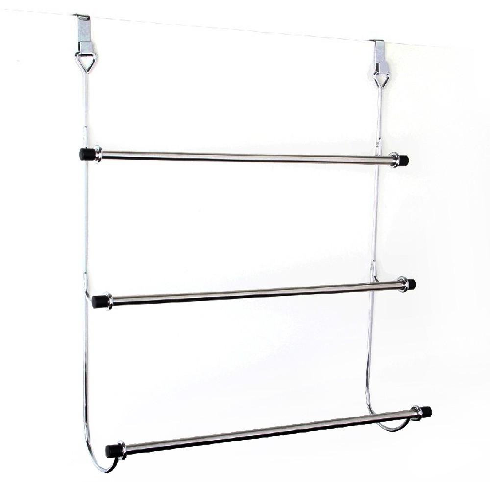 Towel rack for door, iron-chrome, 3-bar