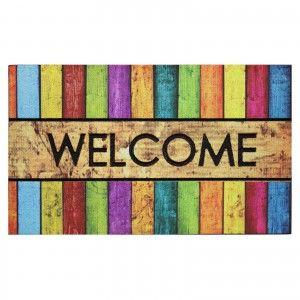 Doormat fotoimpresión of nylon and rubber, striped, multicolor