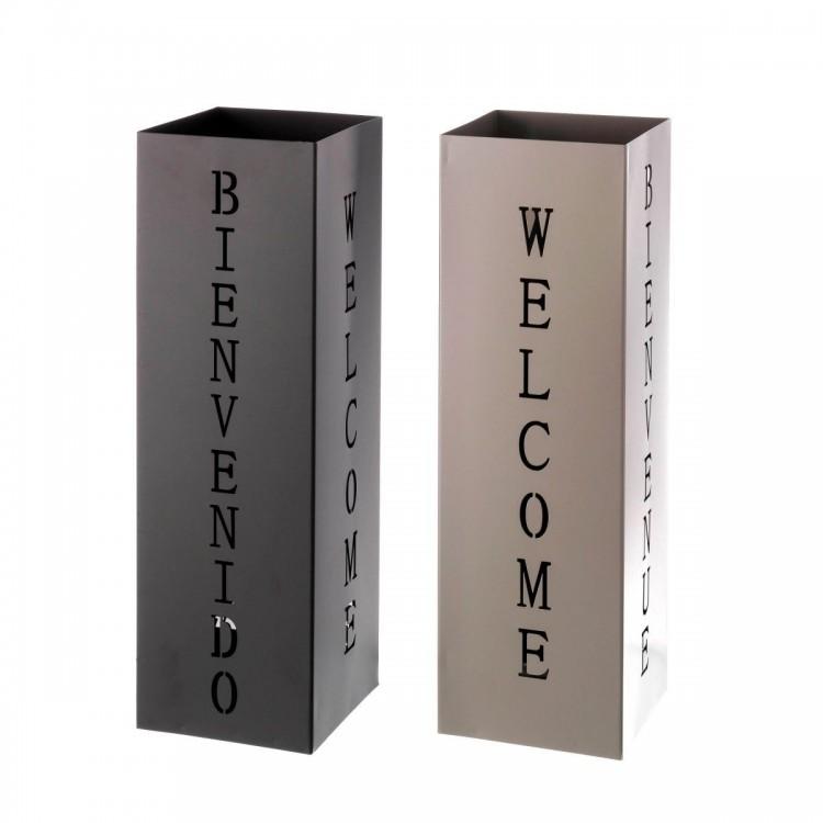 Paragüero moderno de metal cuadrado, modelo welcome, Hogar y Mas