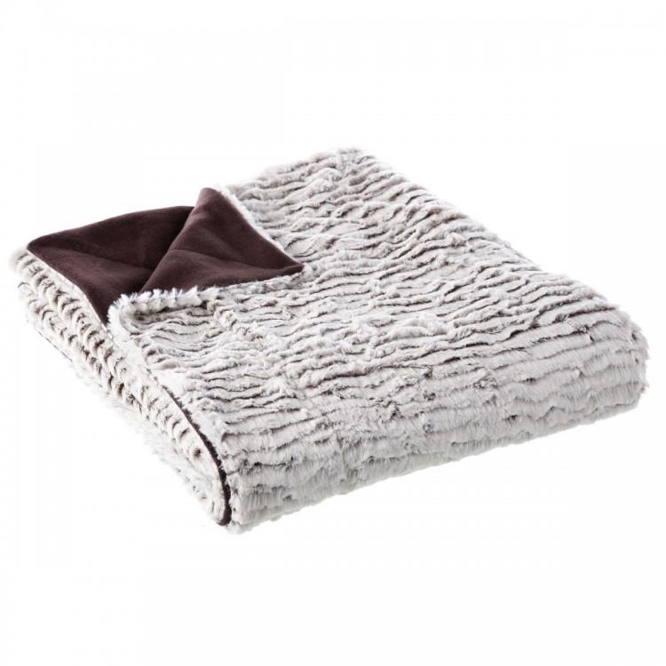 Manta para sofá gris, de pelo y polar