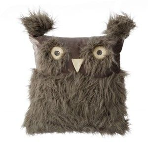 Cushion with filler , color gray, model owl