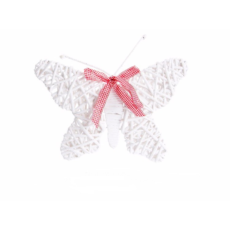 Mariposa de mimbre para decoración  - Color blanco
