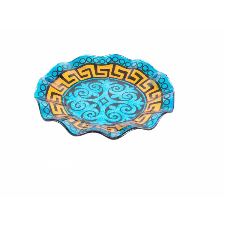Bandeja redonda de cristal azul modelo geom trico - Bandejas de cristal ...