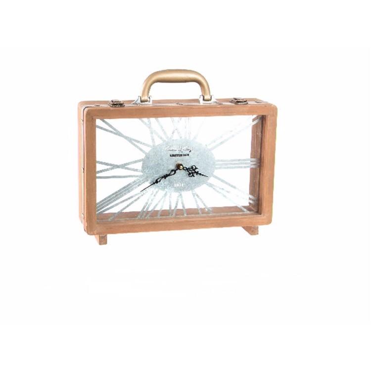 Reloj de mesa de madera y cristal