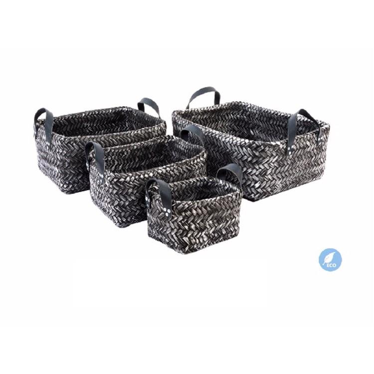 Set 4 cestas de bambú - Color gris