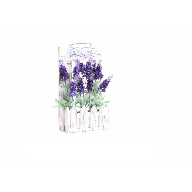 Maceta con flor de lavanda artificial