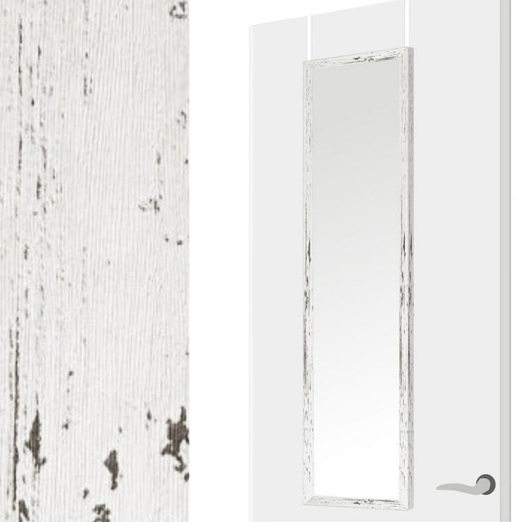Espejo para puerta decapé blanco, sin agujeros