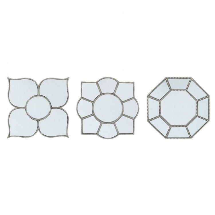 Set Espejo para decoración fabricado en plata-resina