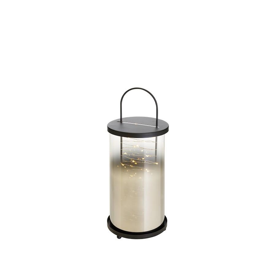 Lantern, Led, black color, made of metal/glass