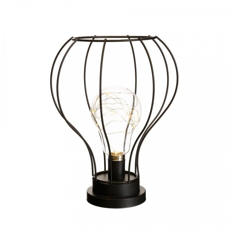 Lámpara Led de color negro, fabricado en metal/cristal