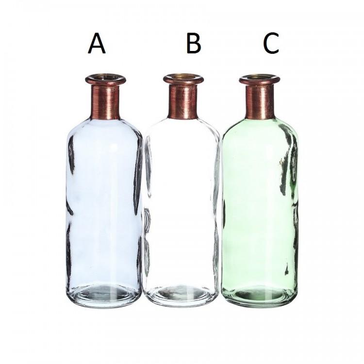 Botella verde de cristal  para decoración