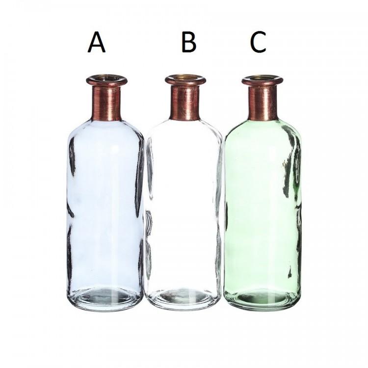 botella gris cristal decoración