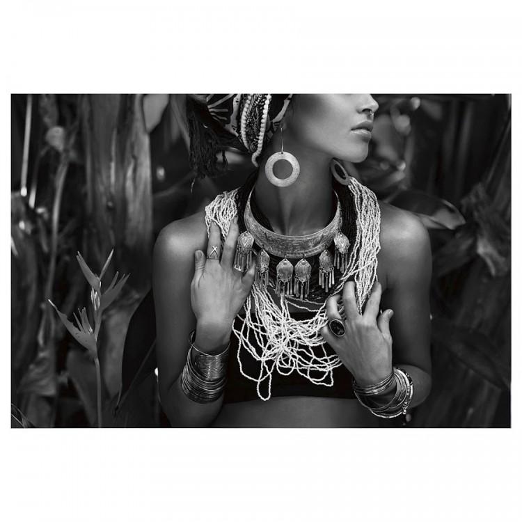 Cuadro decorativo para salón de impresión dibujo africana. Color Gis y blanco. Hogar y mas.