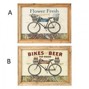 Cuadro de impresión decorado con una bicicleta. Natural