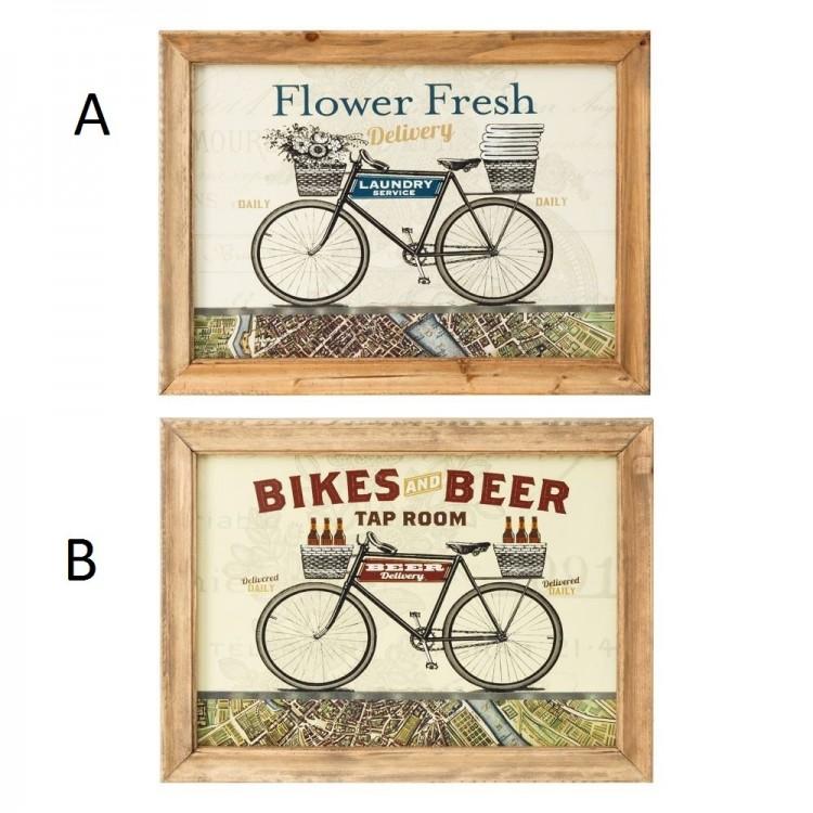 Cuadro decorativo de impresión decorado con una bicicleta. Hogar y mas
