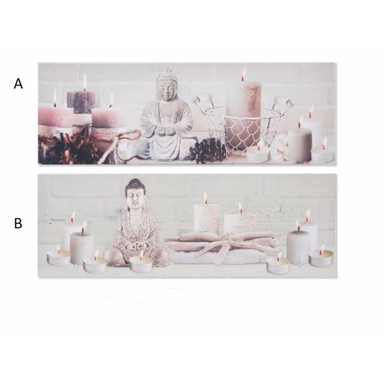 Cuadro decorativo en lienzo Buda con velas Hogar y mas