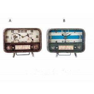 Reloj de metal y cristal en forma de radio