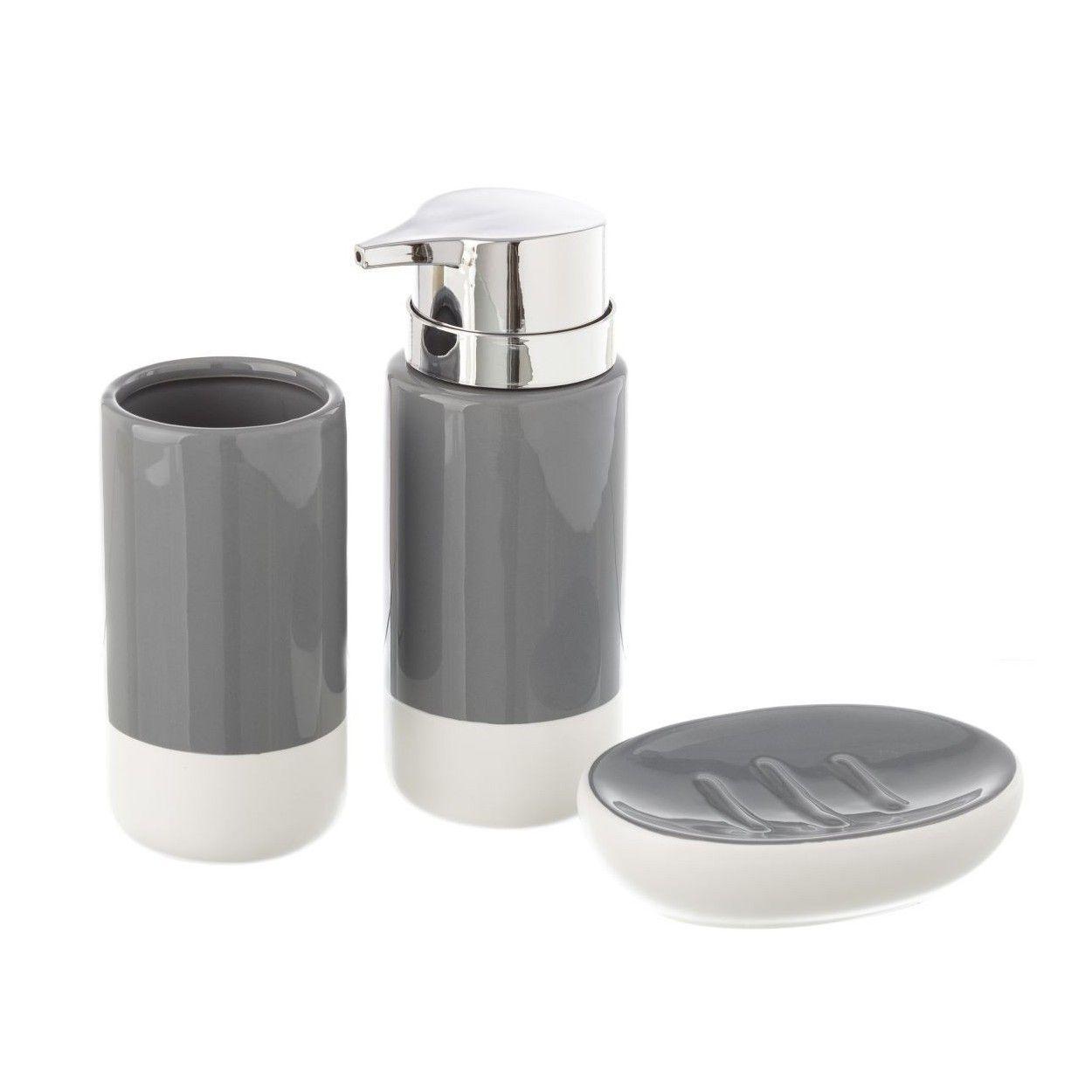 Dosificador de jab n moderno de cer mica con vaso y for Set para bano de ceramica