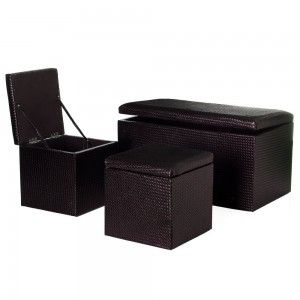 set 3 pouf arcon synthetic leather, chocolate color