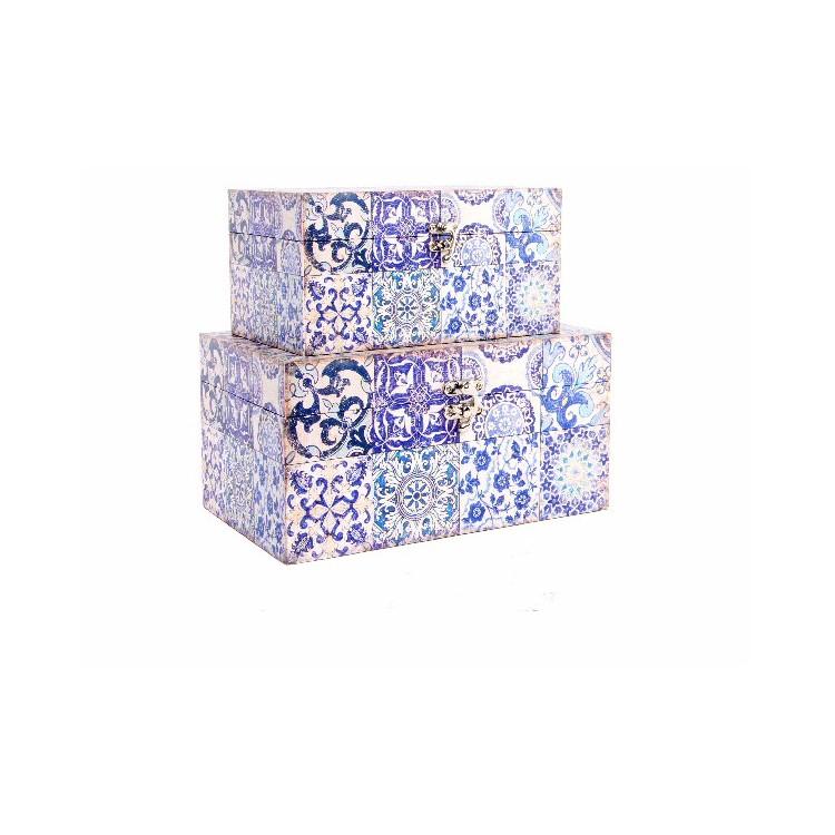 Caja de madera con dise o elegante de azulejo azul set de for Azulejos color azul
