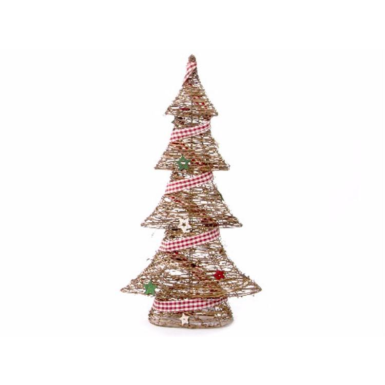 Árbol de Navidad de Ratan y Metal con Lazo