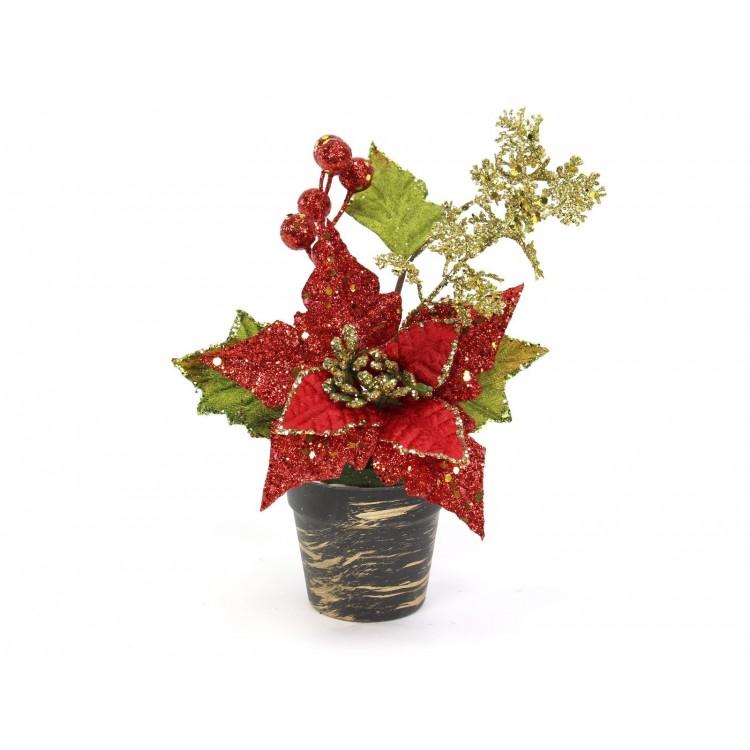 Planta artificial poinseittia y acebo rojo, con maceta, navidad