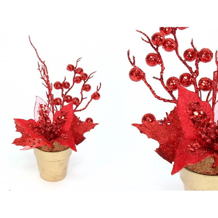 Planta artificial poinseittia roja, con maceta, navidad