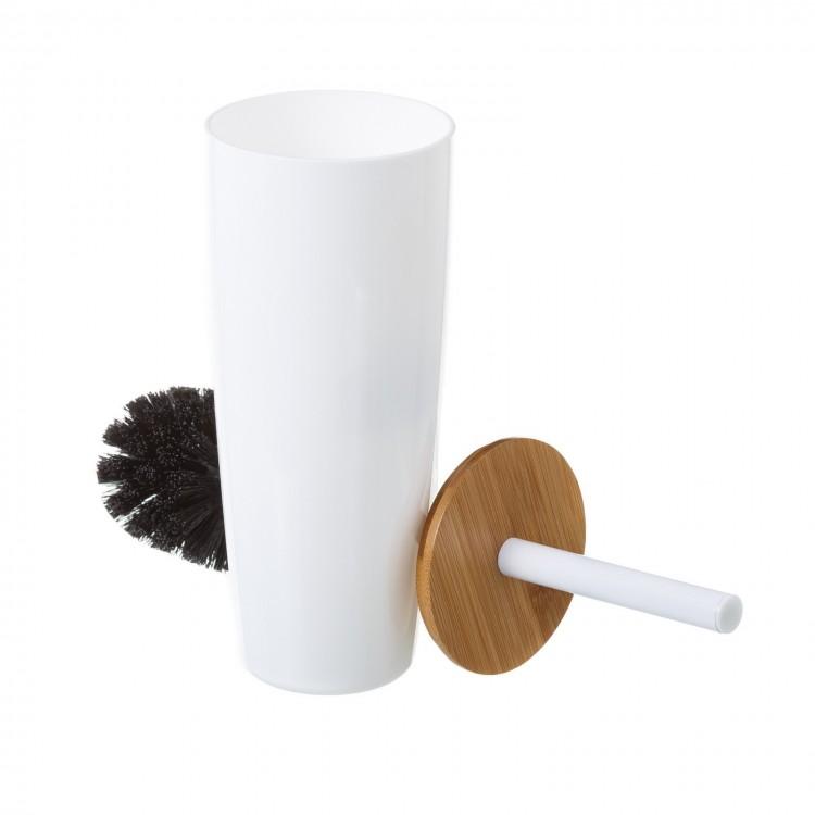 Escobillero de Poliestireno blanco con tapa de Bambu Natural, Hogar y mas
