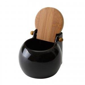 Salt shaker made of Ceramic. Black